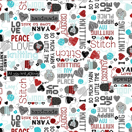 All You Knit Is Love By Kanvas Studio For Benartex - White