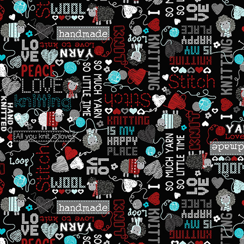 All You Knit Is Love By Kanvas Studio For Benartex - Black