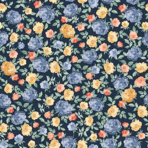 Summer Rose By Punch Studio For Rjr Fabrics - Midnight Metallic