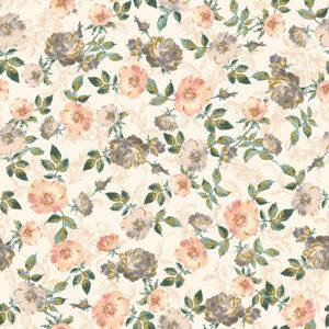 Summer Rose By Punch Studio For Rjr Fabrics - Peachy Metallic