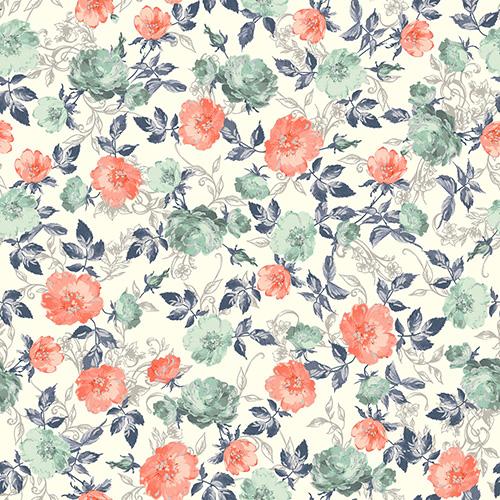 Summer Rose By Punch Studio For Rjr Fabrics - Papaya Metallic