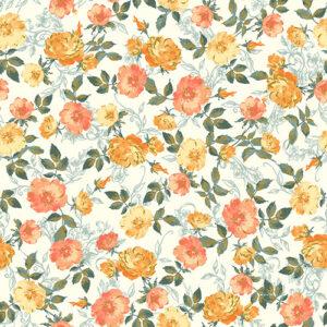 Summer Rose By Punch Studio For Rjr Fabrics - Orange Metallic