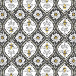 Queen Bee By Michael Miller - Charcoal