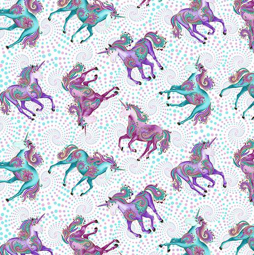 Believe In Unicorns By Ann Lauer For Benartex - Dark Magenta