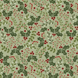 Jingle Bell Flannel By Painted Sky Studio For Benartex - Light Green
