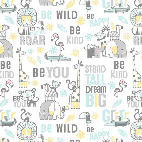 Snuggle In The Jungle Flannel By Jessica Flick For Benartex - White
