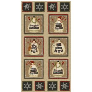 Jingle Bell Time Panel By Beth Albert For Benartex - Natural/Multi