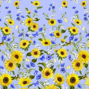 Sunflower Sunrise By Kanvas Studio For Benartex - Blue