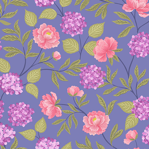 Love Blooms By Lewis & Irene For  - Floral Blue